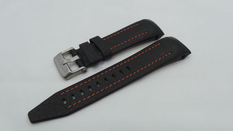 Vostok Europe Lunokhod Leather Strap 25mm Black/Orange-Lun.25.L.M.Bk.O - Russia2all