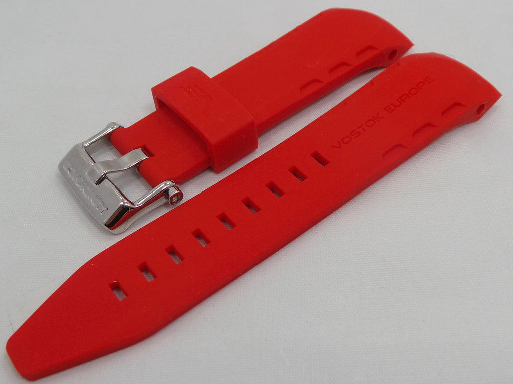 Vostok Europe Lunokhod Silicon Strap 25mm Red-Lun.25.S.S.R - Russia2all
