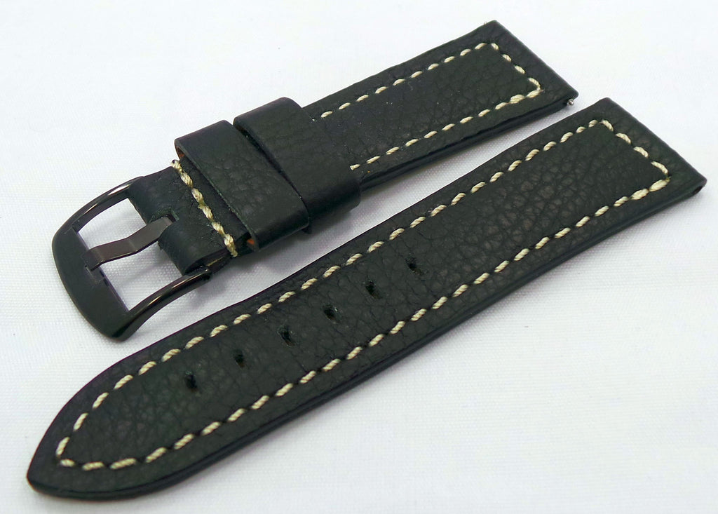 Moscow Classic Leather Strap 24mm Black/White-MC.24.L.B.Bk.W - Russia2all