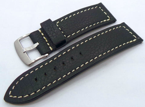 Moscow Classic Leather Strap 26mm Black/White-MC.26.L.M.Bk.W - Russia2all