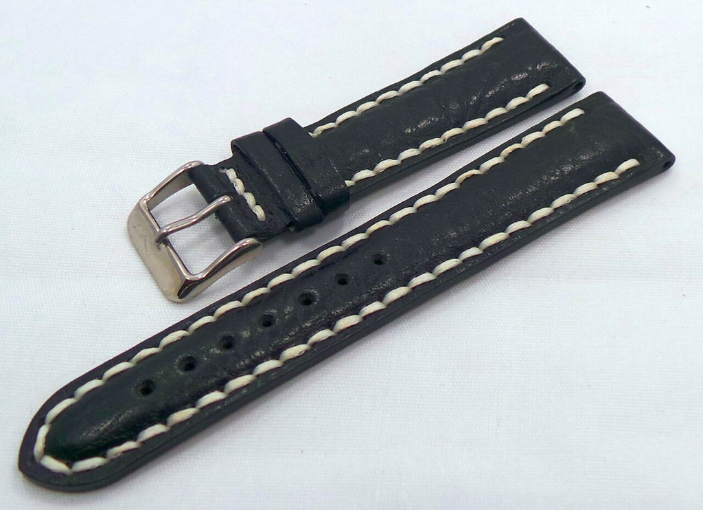 Vostok Europe N1 Rocket-Radio Room Leather Strap 20mm Black/White-N1RR.20.L.S.Bk.W