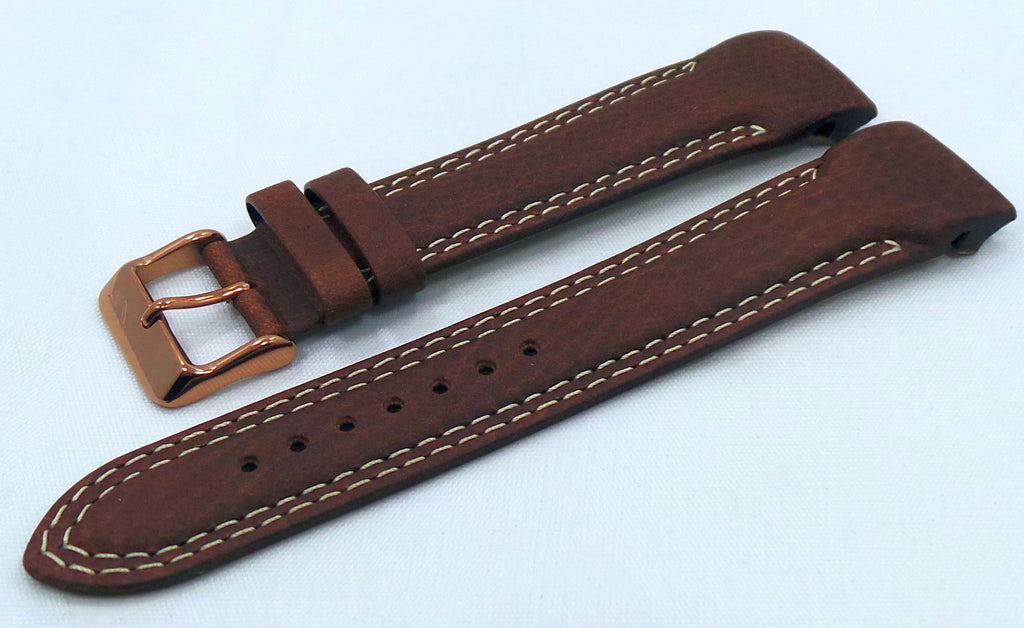 Vostok Europe N1 Rocket-Radio Room Leather Strap 22mm Brown/White-N1RR.22.L.R.Br.W.002