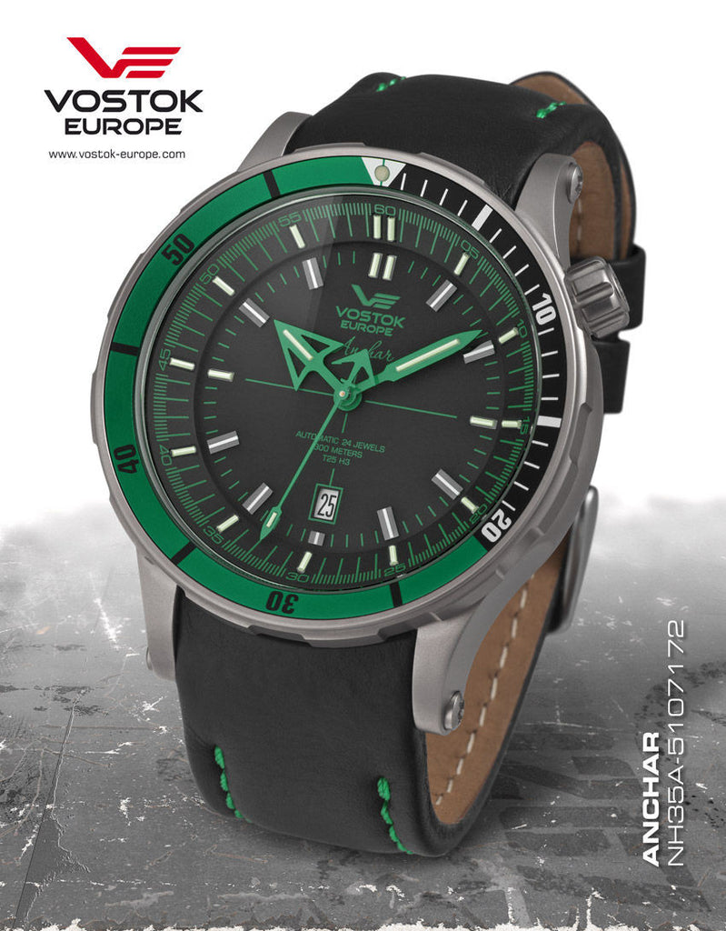 Vostok-Europe Green Color Anchar Mens Diver Watch NH35A/5107172 - 1