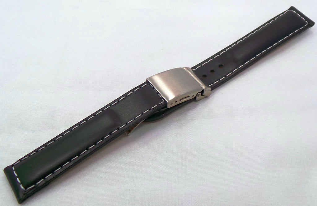 Poljot Leather Strap18mm Black/White-Pol.18.L.S.Bk.W - Russia2all