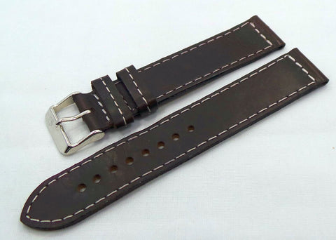 Poljot Leather Strap 20mm Dark Brown/White-Pol.20.L.S.Db.W - Russia2all