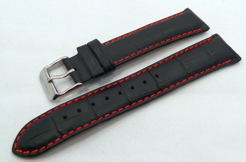 Sturmanskie Leather Strap 20mm Black/Red-Str.20.L.S.Bk.R - Russia2all