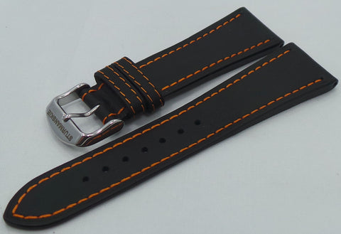 Sturmanskie Leather Strap 24mm Black/Orange-Str.24.L.S.Bk.O - Russia2all