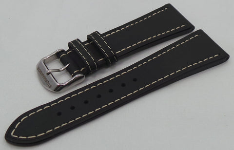 Sturmanskie Leather Strap 24mm Black/White-Str.24.L.S.Bk.W - Russia2all