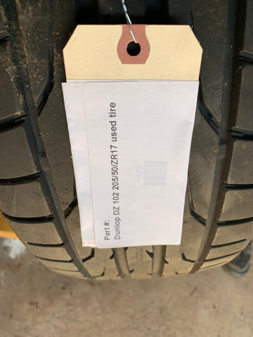 Dunlop Direzza DZ 102 205/50/ZR17 93W used tire -