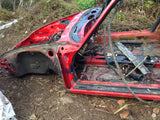 911 Body Shell Targa guards red 1984 with salvage title and wiring, has partial saw damage, tree fell on rear deck and top of windshield -