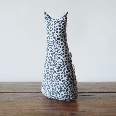 Navy Speckled Cat Door Stop