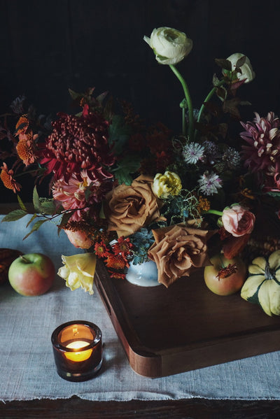 "Thanksgiving Tablescape Kit ""Harvest"" ~ 2-4 people with Black Candlesticks - Hops Petunia Floral"