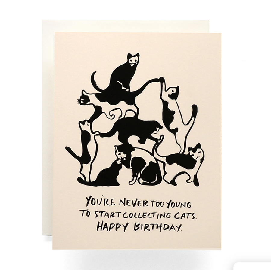 """Never Too Young to Collect Cats"" Antiquaria Cards"