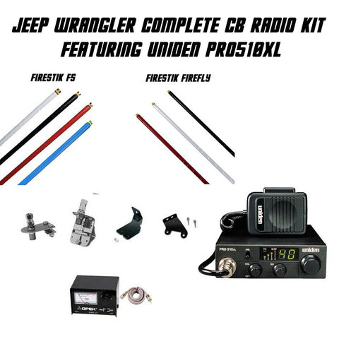 Jeep Wrangler Complete CB Radio Antenna Kit Featuring Uniden PRO510XL