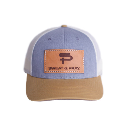 SP LEATHER PATCH SNAPBACK - DENIM & KHACKI
