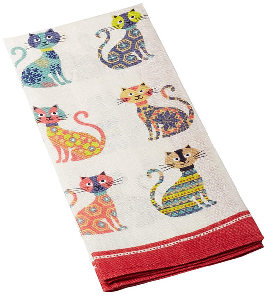 Groovy Cats Linen Tea Towel