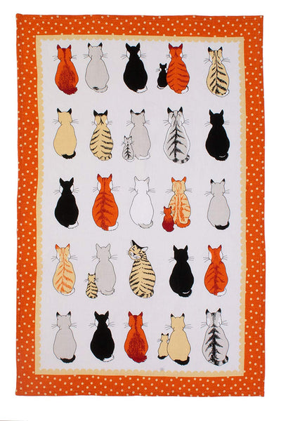Cats in Waiting Linen Tea Towel