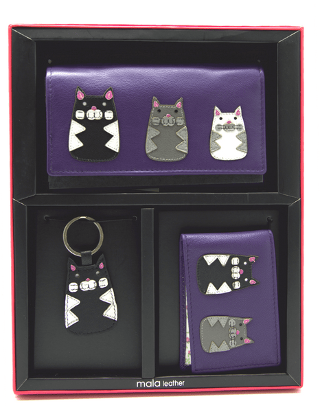 Mala Leather Max Cat Purple Gift Set