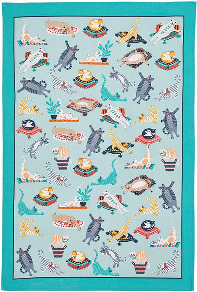 Kitty Cats Green Tea Towel