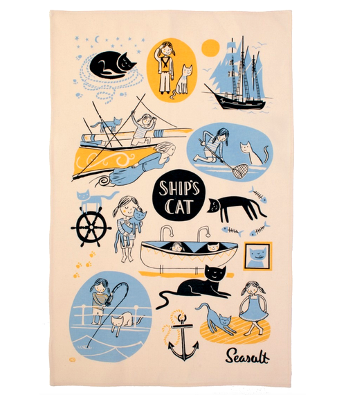Ships Cat Tea Towel