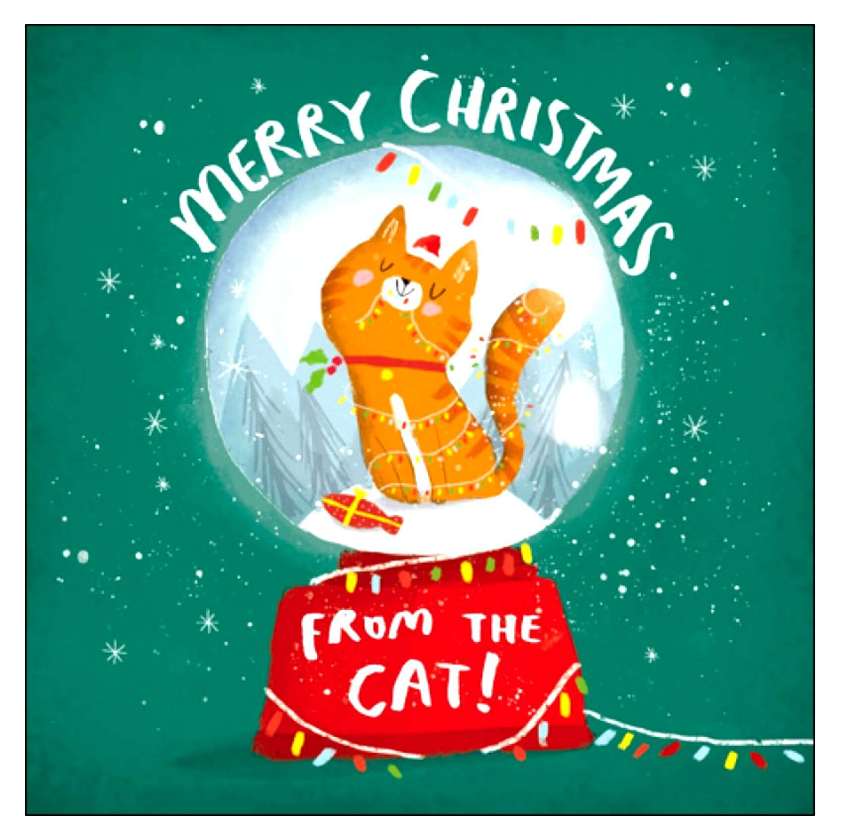 Merry Christmas from the Cat Glitter Card