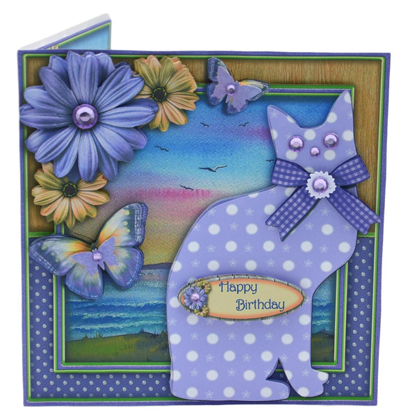 Cat in a Floral Frame Birthday Card