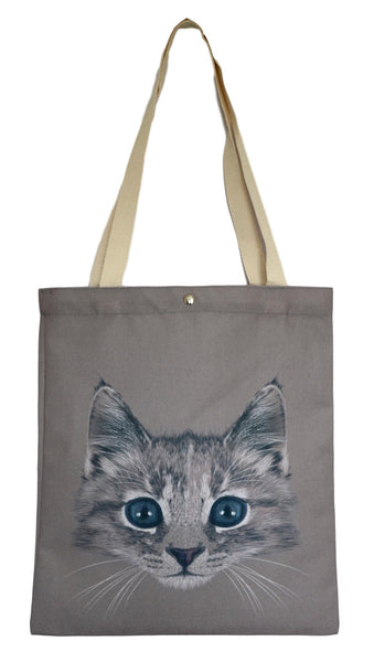 Brown Kitten Canvas Tote Bag