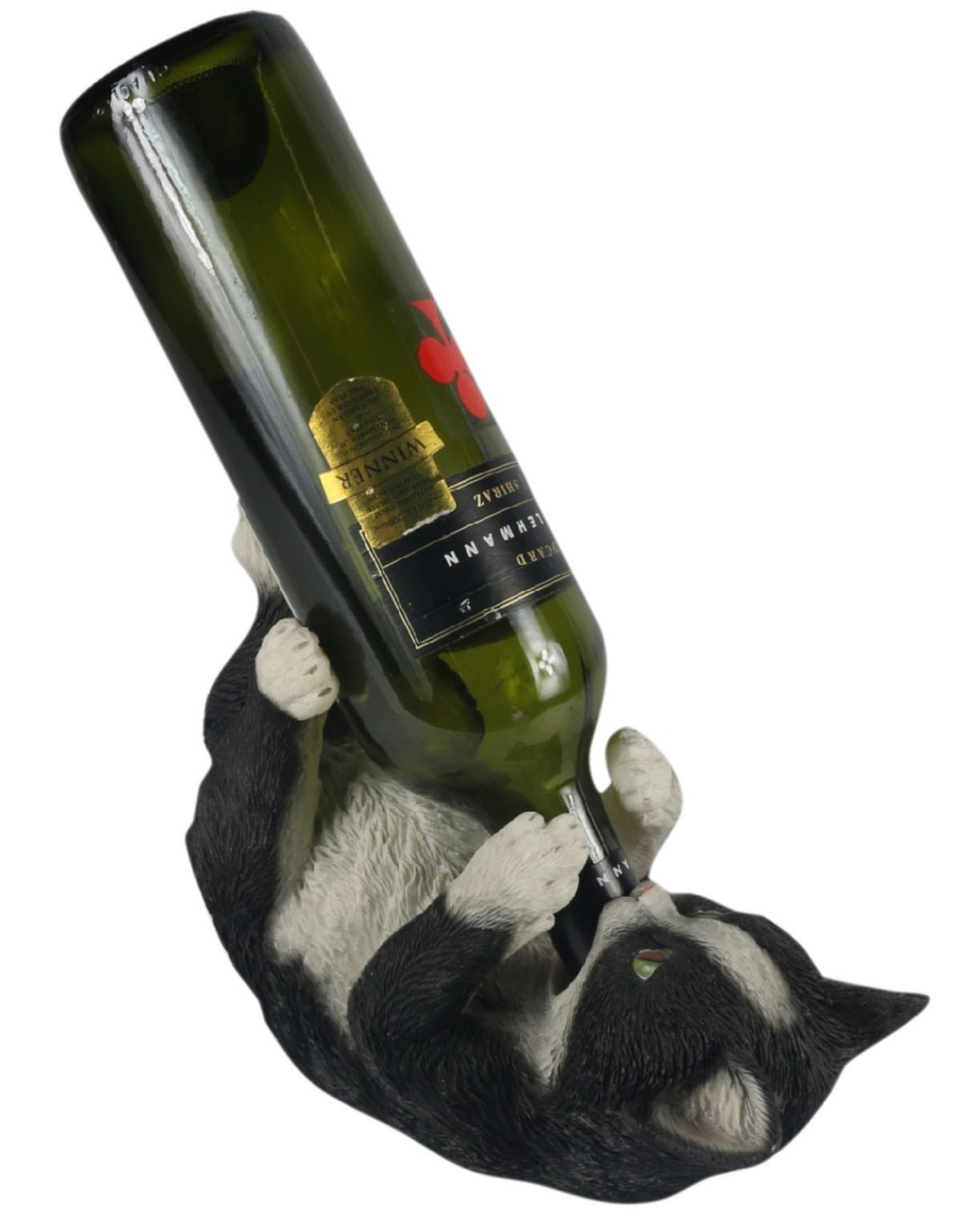 Black & White Resin Cat Wine Bottle Holder