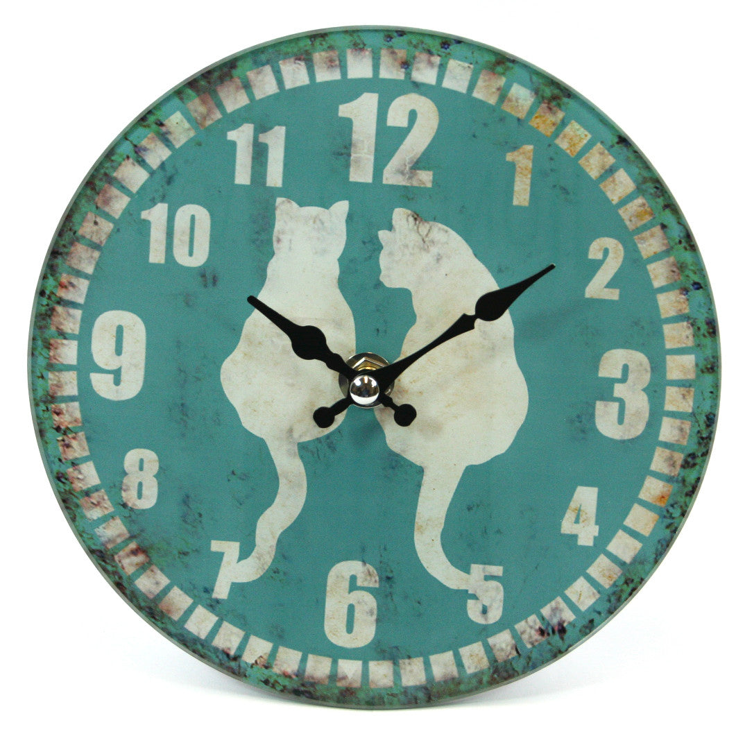 Frosted Glass Cat Clock (Small)