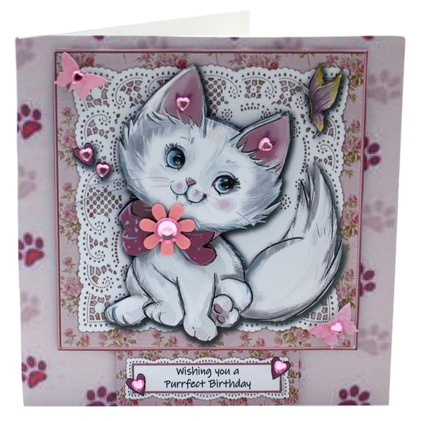 Pretty White Cat Birthday Card