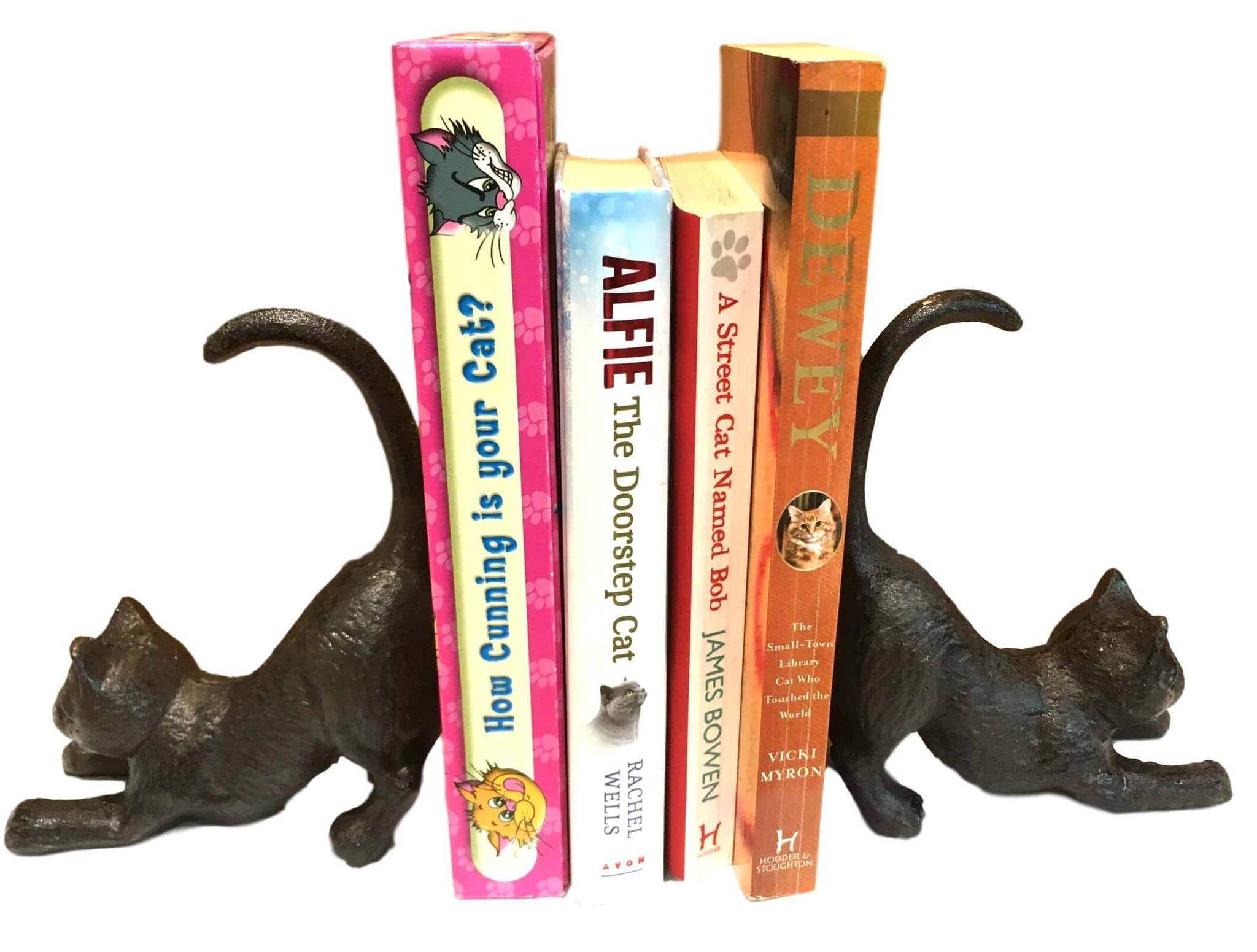 Stretching Cat Cast Iron Book Ends