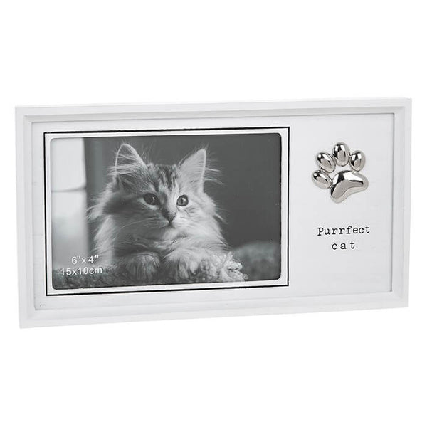 Purrfect Cat White Wooden Cat Photo Frame