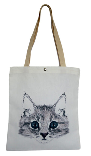 White Kitten Canvas Tote Bag
