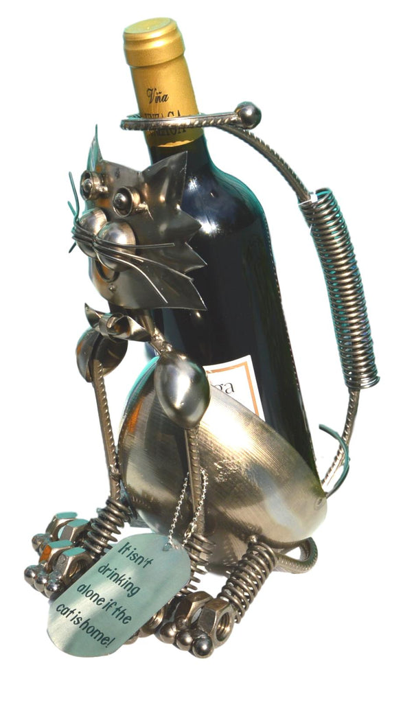 Fun Metal Cleo the Cat Wine Bottle Holder