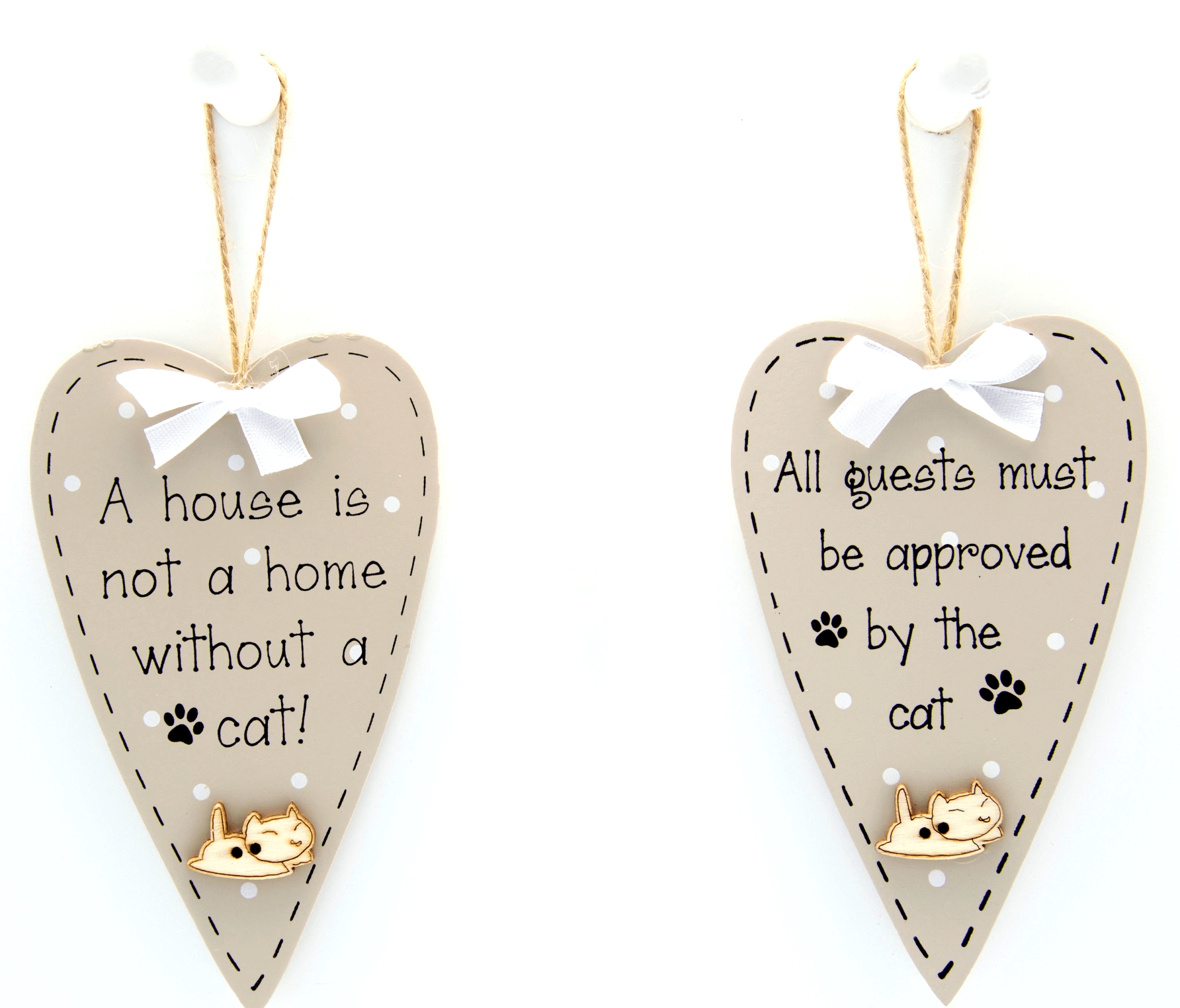 Set of 2 Hanging Cat Heart Plaques