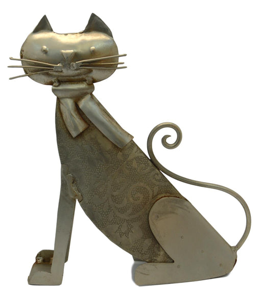 Rajasthan Artwares Sitting Etching Metal Cat