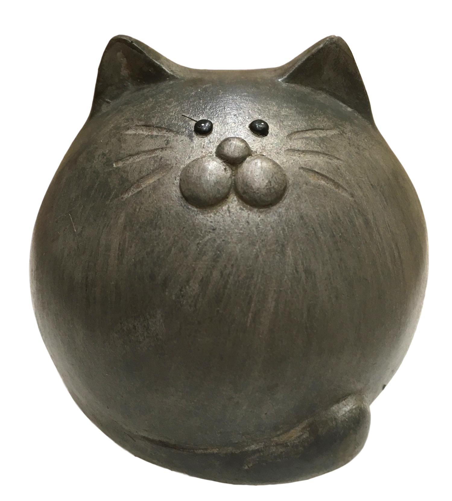 Ceramic Country Grey Round Cat