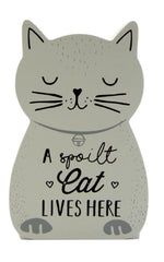 White & Grey Wooden Cat Whiskers Standing Cat Plaques