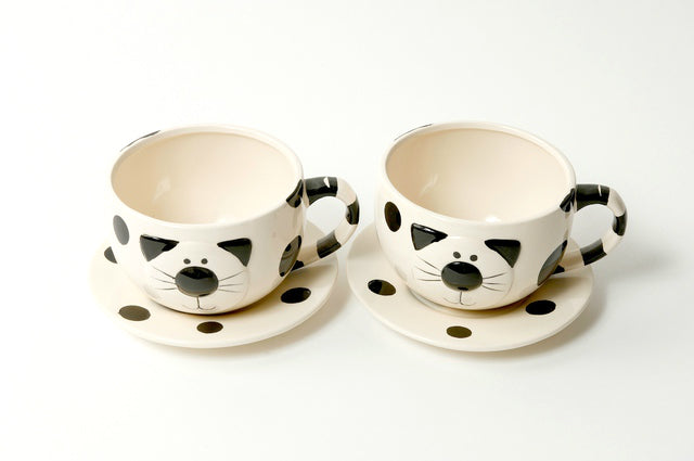 Set of 2 Cat Ceramic Set Tea Cups & Saucers