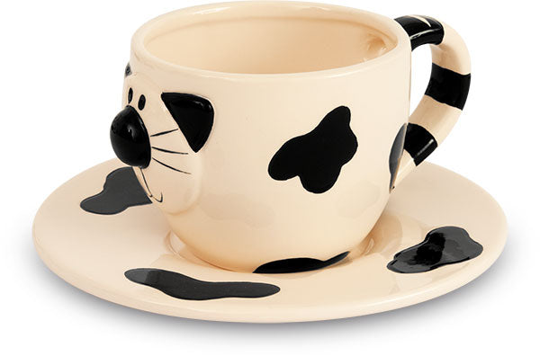 Cat Ceramic Coffee Cups & Saucers x 2