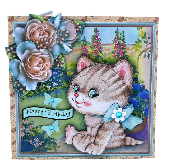 Cat in the Garden Birthday Card