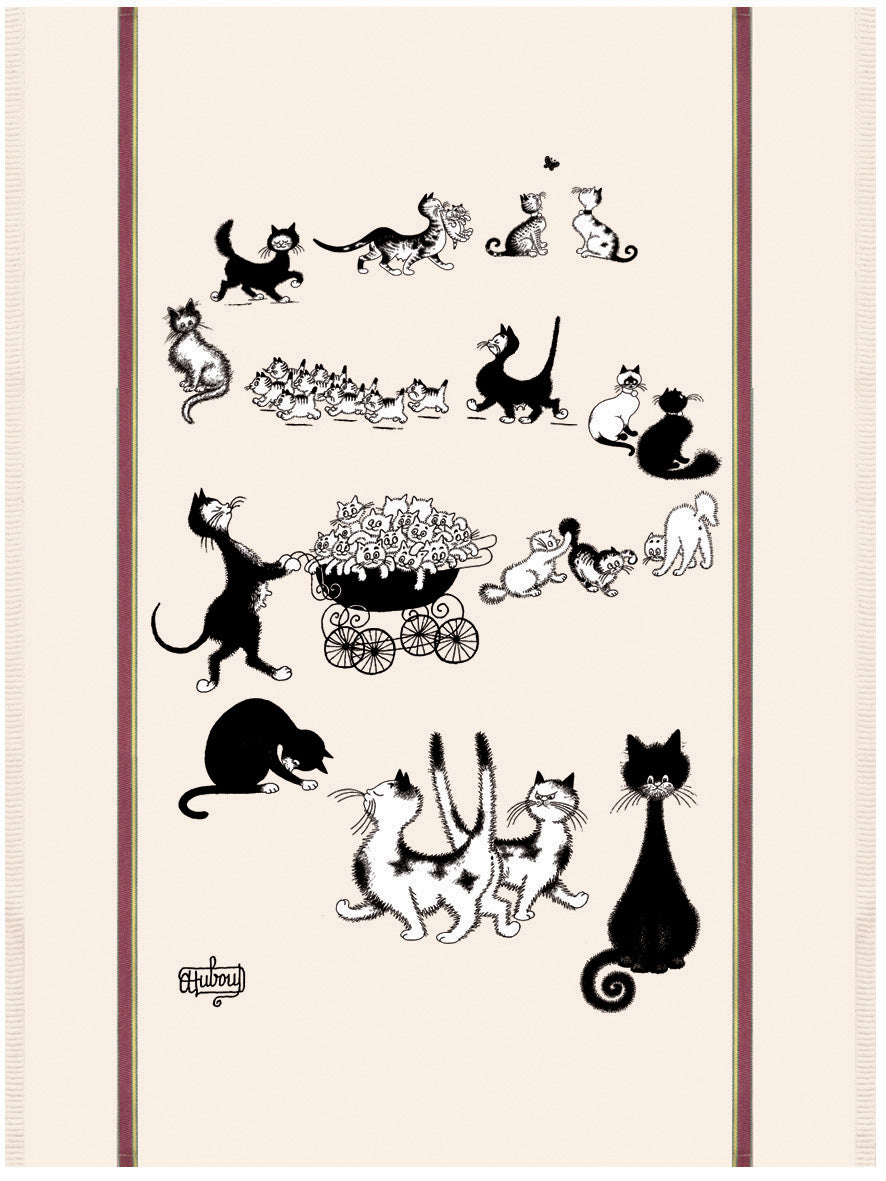 Multi Cats Dubout Cats Tea Towel