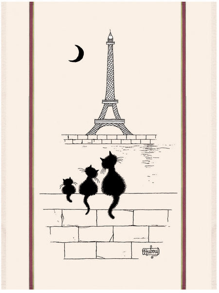 Chats Tour Eiffel Dubout Cats Tea Towel