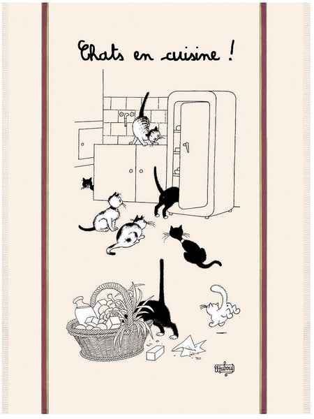 Chats en Cuisine (Cats in the Kitchen) Dubout Cats Tea Towel