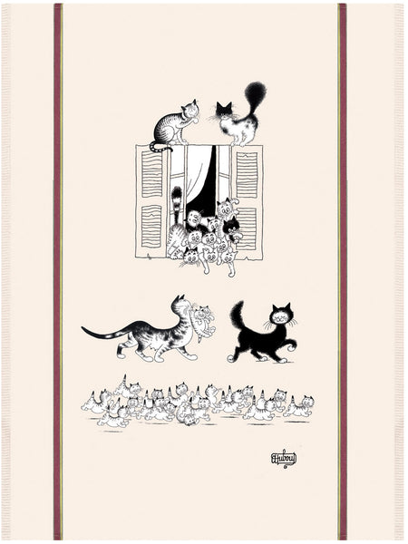 Cats at the Window (Chats à la fenêtre) Dubout Cats Tea Towel
