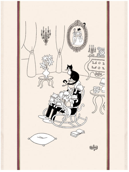 La Sieste (Cat Nap) Dubout Cats Tea Towel