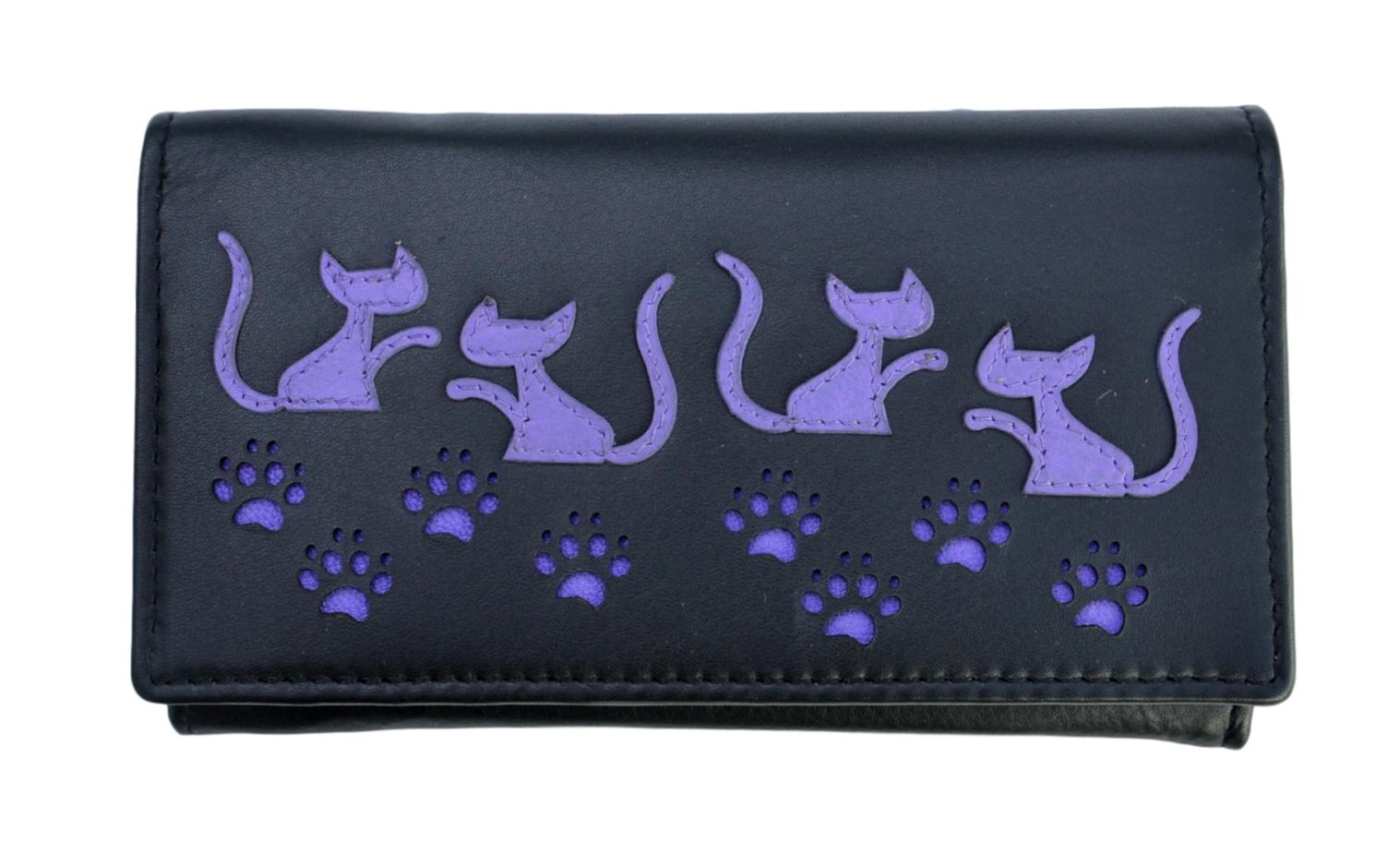 Mala Leather Black Large Cat Purse