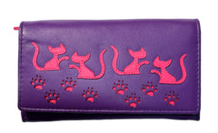 Mala Leather Purple Large Cat Purse