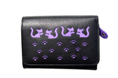 Mala Leather Small Black Cat Purse
