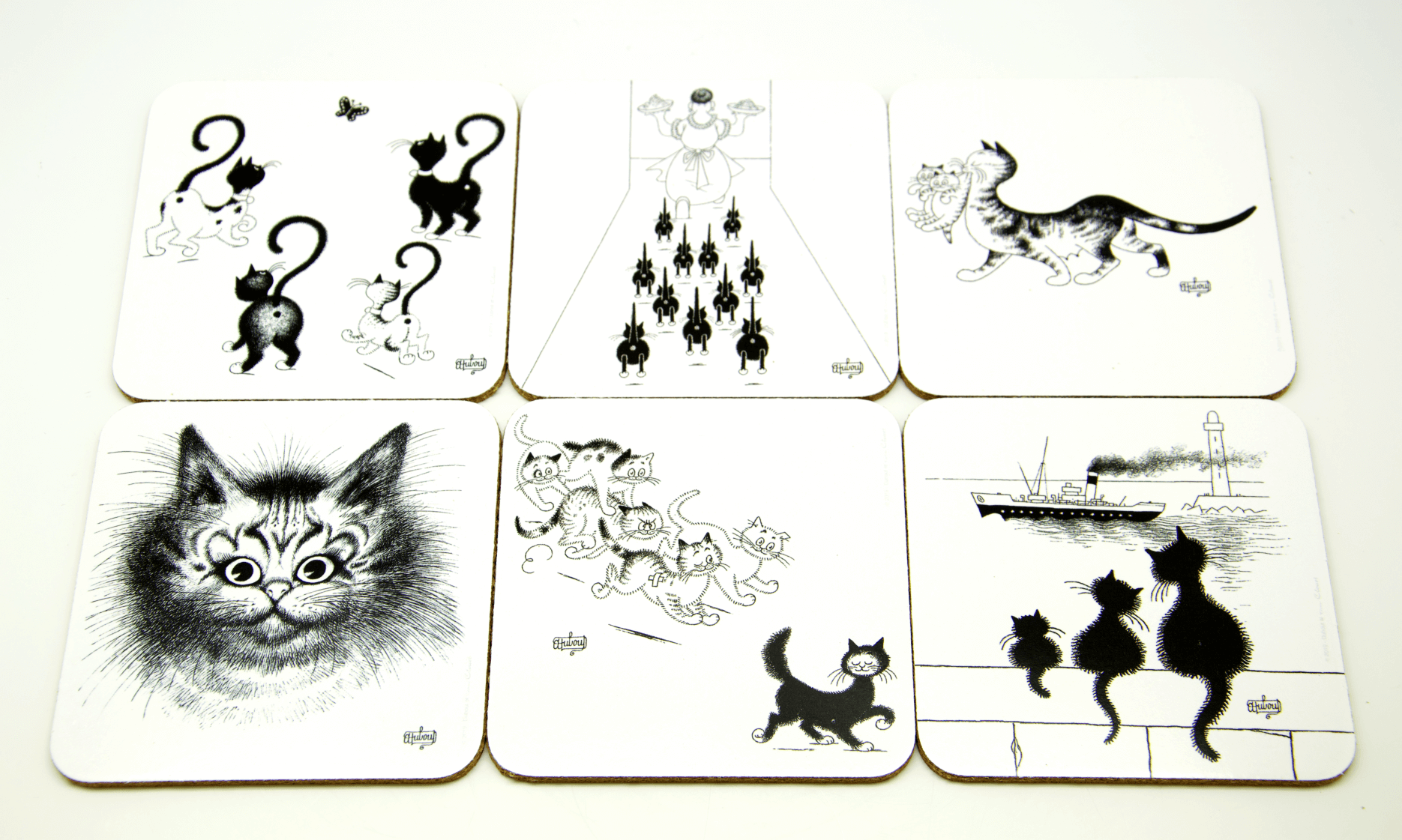 Dubout Cats - Set of 6 Black & White Cat Coasters (34032)